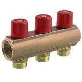 Колектор з регулюючими вентилями Bianchi 50мм 3 виходи 1х3 /4 ЗР червоний (233E06050A)