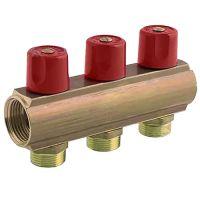 Коллектор с регулирующими вентилями Bianchi 50мм 3 выхода 1х3/4 ЗР красный (233E06050A)
