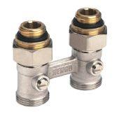 Блок шаровых кранов для радиаторов с нижним подключением Rehau G1/2 x G3/4 прямой (240727001)
